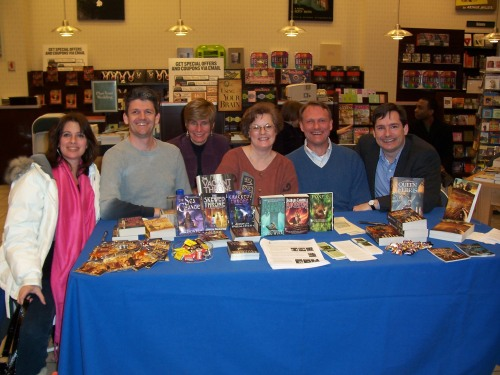 Me, Sam Butler, Barbara Campbell, Patricia Bray, Joshua Palmatier, and B&N customer who literally jumped into the picture.