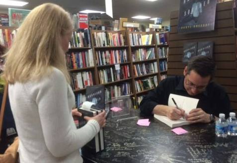 March 31, Eagle Eye Books. Michael Bishop's daughter, Stephanie Lartin, came out! So happy to meet her. Picture by Michael Hitchens.