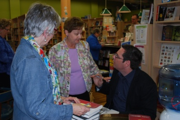 April 2, Union Ave Books in Knoxville. That's my cousin Freda to my right, with Flossie of Union Ave looking on.