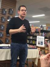 March 24, Launch Day, at Penn State book store. Here I'm laying down the word to students and staff